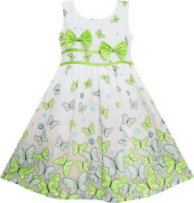 Sunny Fashion Girls Dress Butterfly Green Double Bow Tie Summer Beach Size 4-12