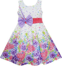 Sunny Fashion Girls Dress Purple Bow Tie Floral Party Princess Size 4-12