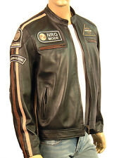 Mens RETRO Cafe Racer Motorcycle Biker Style Real Leather Nappa Jacket Black NEW