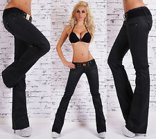 Sexy Women's Black Wet Look Bootcut Jeans Hipster Jeans Pants Belt Size 6-14
