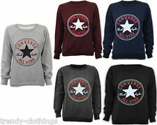 Womens Ladies Converse Logo Print Jumper Pullover Sweatshirt Top Size UK 8-14