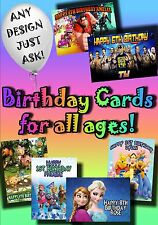 PERSONALISED birthday card Large A5 size 100+ designs with disney greetings