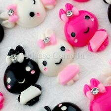 Kawaii Flatback Bunny with Bow Resin Cabochon Decoden Charm