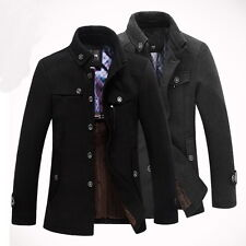 Men's Slim Fit Winter Trench Coat Wool Long Jacket Outerwear Overcoat