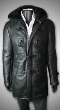 MEN'S SHEARLING SHEEPSKIN GENUINE LEATHER BOMBER B7 WINTER COAT - BLACK