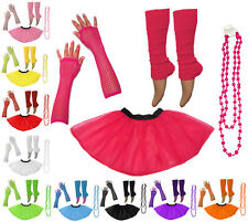 1980's Neon UV Tutu Skirt Leg Warmer Dance Hen Flo Fancy Dress Party Costume Set