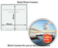 Blank Photo Coasters (Packs 1, 5,10) (Square Round) Insert Picture clip together