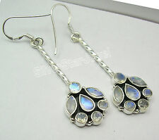 925 Silver Dangle Earrings RAINBOW MOONSTONES & Other Choice Gemstones Variation
