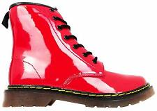 Miss Riot Coco Girl's Shiny Red Lace Up Bovver Combat Style Ankle Boots New