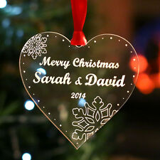 Personalised Christmas Tree Decoration Merry Christmas Heart Bauble Gift