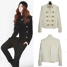 COOL Womens Military Style Double-breasted Woolen Stand-Collar Short Coat Jacket