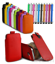 Pull Tab PU Leather Mobile Phone Case Skin Cover Pouch, Touch Stylus Pen