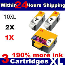 3x KODAK 10 XL BLACK & 10C COLOR INK CARTRIDGES FOR KODAK ALL-IN-ONE PRINTER