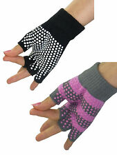 Wnisex Men Women Yoga Pilates Fingerless Exercise Grip Gloves Black & Pink Hot