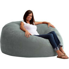 Bean Bag Chair 5 Ft Large King Fuf Comfort Suede Black Brown Blue Red Grey Sand