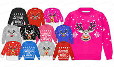 Kids Girls Boy Christmas Xmas Retro Rudolf Santa Penguin Novelty Jumper Knitted