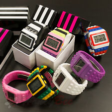 Retro Digital LCD Sports Watch Construction Brick Block Pixel Womens Kids Mens