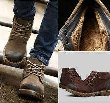 Casual Suede Lace Up Round Toe Lace UP Warm Fur Lined Men's Work Boots Shoes 030