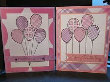 """Stampin Up Pink/Purple """"Happy Birthday"""" or """"Make A Wish"""" Balloons Handmade Card"""