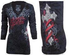 Archaic AFFLICTION Women LS T-Shirt BLACK SHEEP Tattoo Biker UFC Sinful M-XL $58