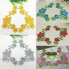 6PCS Embroidered Art Flower Motif Patches Decal Iron Or Sew Appliques 21cmX11cm