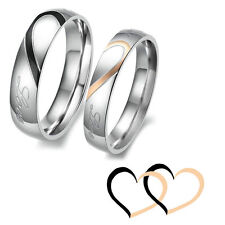 Lovers Rings Couple Heart Shape Matching Stainless Steel Promise Wedding Bands