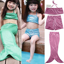 Girl Stretch Mermaid Tail Swimmable Monofin capable Swimsuit Top Shorts Set Suit