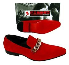 Men's New Fashion Fiesso Suede Red Slip on Shoes with Gold Studs Chain FI 6788