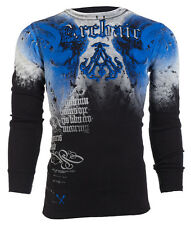 Archaic AFFLICTION Men THERMAL Shirt NIGHTWATCHER Skull Tattoo Biker M-3XL $58 a