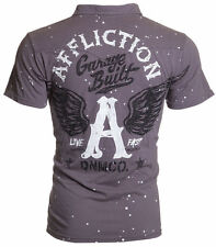 AFFLICTION Men POLO T-Shirt FLYING A Wings Tattoo Fight Biker Club UFC S-3XL $68