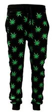 New Men's Marijuana Weed Plant Print Black/Green Slim Fit Sweat Pants Joggers