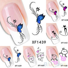 Water Transfer Nail Art Stickers 3D Butterfly Rabbit Decals Tips Nail Decoration