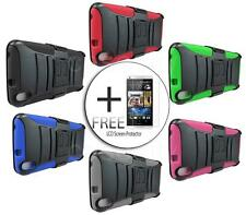 FOR HTC DESIRE 816 REFINED RUGGED HYBRID ARMOR PHONE CASE W/ HOLSTER + LCD GUARD