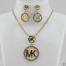 2015 Western Style New Fashion Letters Zinc Metal Crystal Earring Necklace