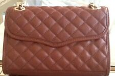 REBECCA MINKOFF GOLD QUILTED AFFAIR MINI BAG LEATHER MAHOGANY PURSE HANDBAG