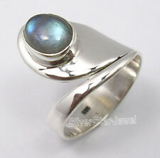 925 Silver LABRADORITE FLEXIBLE ADJUSTABLE Ring Size OK