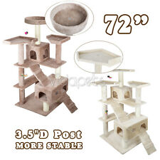 "Vidapets 72"" Almond Beige Cat Tree Play House Condo Scratcher Post Furniture"