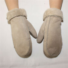 New Women's Real Sheepskin Suede Leather Winter Gloves Mittens w/Wool Fur Lining