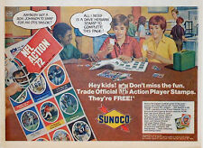 Vintage 1972 comic page Sunoco Gas ad - free Official NFL Action Player Stamps
