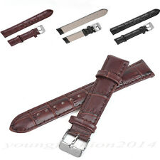 Alligator Crocodile Grain Leather Watch Band Strap Black Brown 16 18 22 mm
