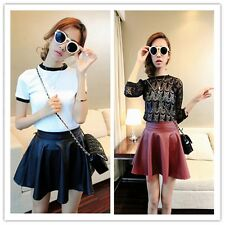 Women's New Fashion Sweet Leather Solid Pleated Bubble Above-Knee Short Skirts