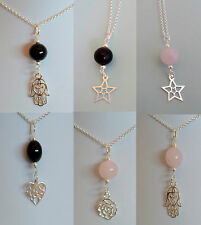 new sterling silver gemstone pendant necklace various star / heart / hamsa hand
