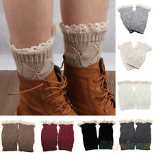 Mystic Women Vogue Crochet Knitted Lace Trim Boot Toppers Cuffs Leg Warmers Sock