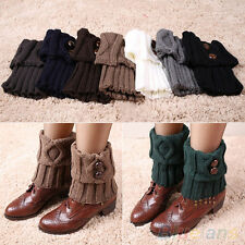 Women Creative Winter Leg Warmers Button Crochet Knit Boot Socks Toppers Cuffs