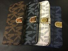 MICHAEL KORS LEATHER WALLET FLIP CASE COVER FOR IPHONE 5 5S - MK RETAIL BOXED