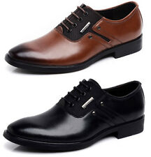 VE Men's Work Business Genuine Leather Shoes Pointed Toe Lace Up Dress Shoes