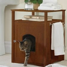 Wooden Pet Dog Cat House Litter Box Bed Crate Night Stand Bath Room Furniture