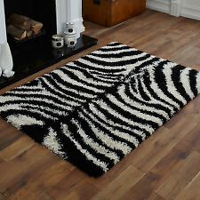 NEW BLACK CREAM COLOUR ZEBRA PATTERN 5cm HIGH PILE LARGE MEDIUM SMALL SHAGGY RUG