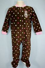 18 24 MONTH DR SEUSS CAT IN THE HAT BROWN POLKA DOT FOOTED PAJAMAS NWT