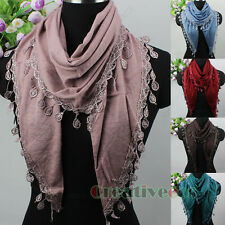 Fashion Women's Lace Tassel Cotton Triangle Scarf Ladies Scarves Soft Wrap Shawl